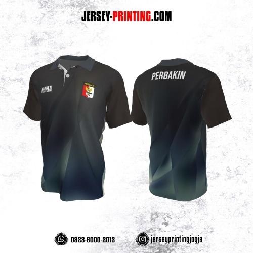 Baju Kaos Jersey Menembak Perbakin Kerah Polo Abu-abu Dongker