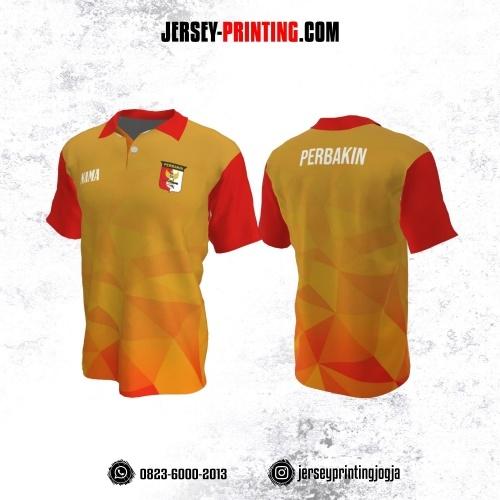Baju Kaos Jersey Menembak Perbakin Kerah Polo Kuning Orange Merah Motif Geometris