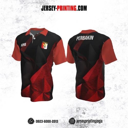 Baju Kaos Jersey Menembak Perbakin Kerah Polo Merah Hitam Motif Abstrak