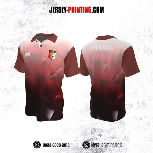 Baju Kaos Jersey Menembak Perbakin Kerah Polo Merah Hitam Putih Motif Abstrak