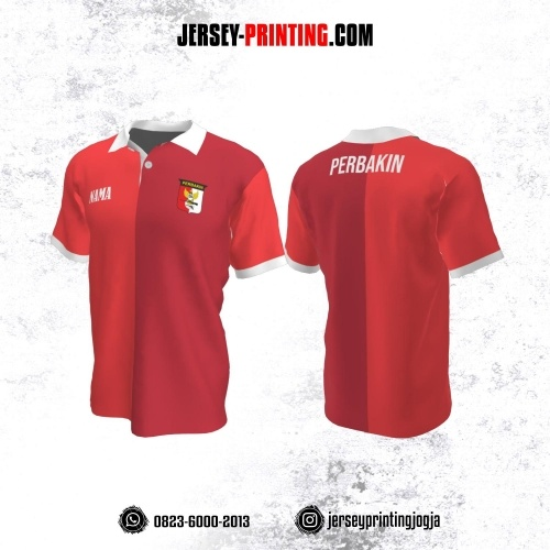 Baju Kaos Jersey Menembak Perbakin Kerah Polo Merah Kombinasi Corak Putih