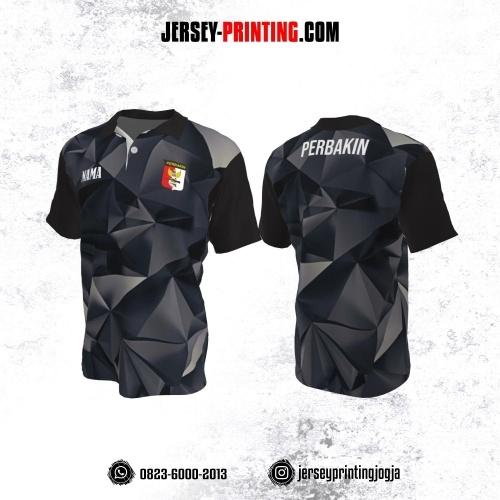 Baju Kaos Jersey Menembak Perbakin Kerah Polo Motif Abstrak Hitam Abu-abu