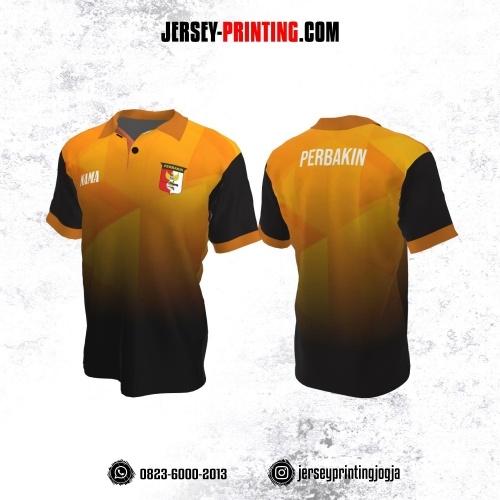 Baju Kaos Jersey Menembak Perbakin Kerah Polo Orange Corak Hitam