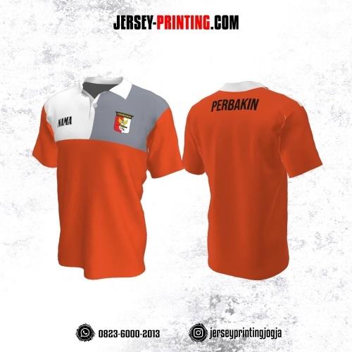 Baju Kaos Jersey Menembak Perbakin Kerah Polo Orange Corak Putih Abu-abu