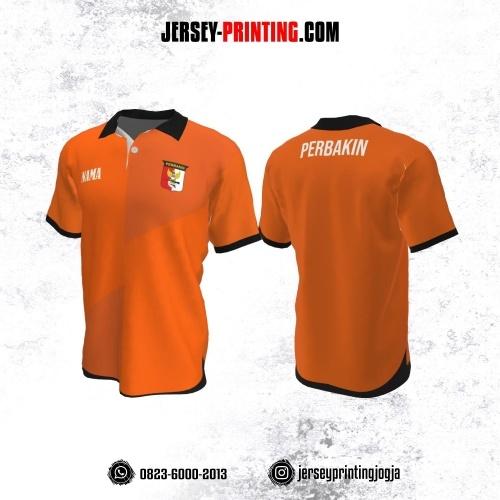 Baju Kaos Jersey Menembak Perbakin Kerah Polo Orange Hitam