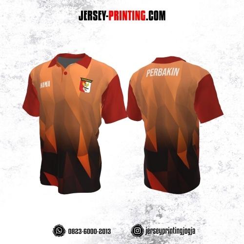Baju Kaos Jersey Menembak Perbakin Kerah Polo Orange Hitam Merah Motif Abstrak