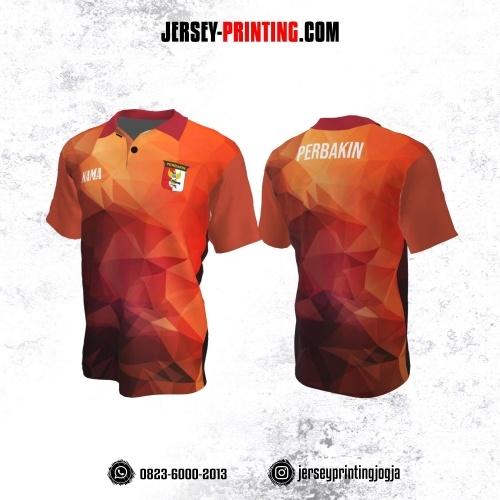 Baju Kaos Jersey Menembak Perbakin Kerah Polo Orange Merah Motif Abstrak