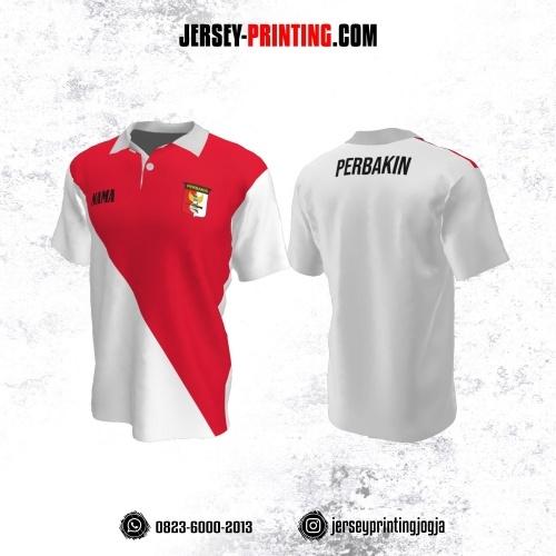 Baju Kaos Jersey Menembak Perbakin Kerah Polo Putih Corak Merah