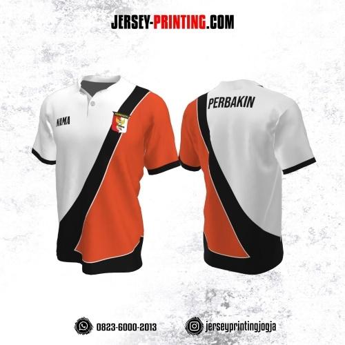 Baju Kaos Jersey Menembak Perbakin Kerah Polo Putih Corak Orange Hitam