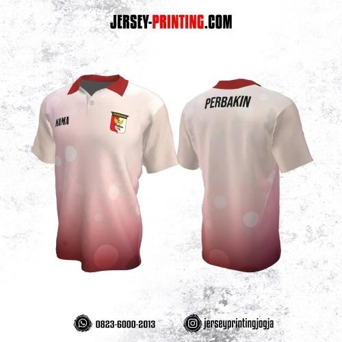 Baju Kaos Jersey Menembak Perbakin Kerah Polo Putih Merah Motif Geometris