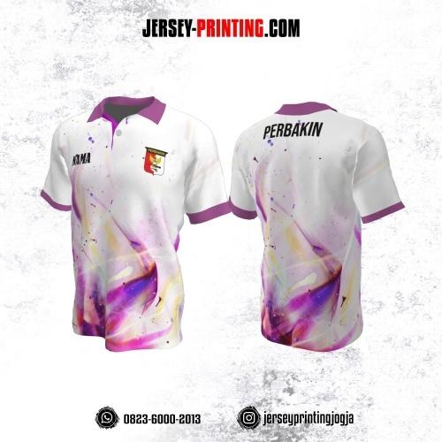 Baju Kaos Jersey Menembak Perbakin Kerah Polo Putih Motif Tumpahan Cat Glossy Ungu Pink