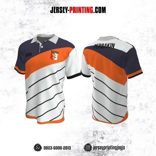Baju Kaos Jersey Menembak Perbakin Kerah Polo Putih Orange Abu Motif Garis Hitam