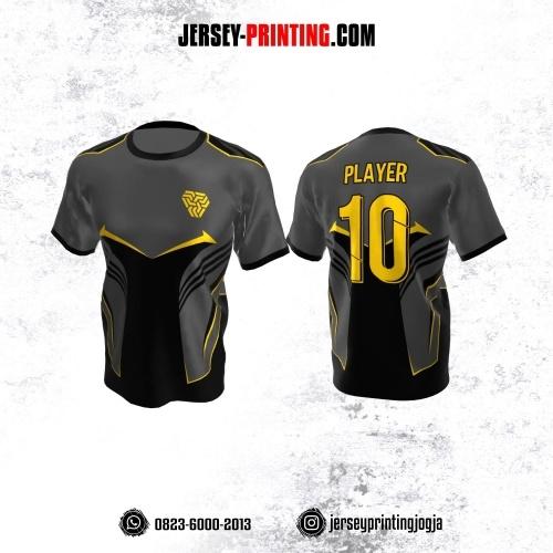 Jersey Atasan Badminton Volly Lari Futsal Abu-abu Corak Hitam Kuning