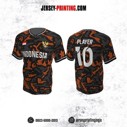 Jersey Atasan Badminton Volly Lari Futsal Abu-abu Orange Motif Army