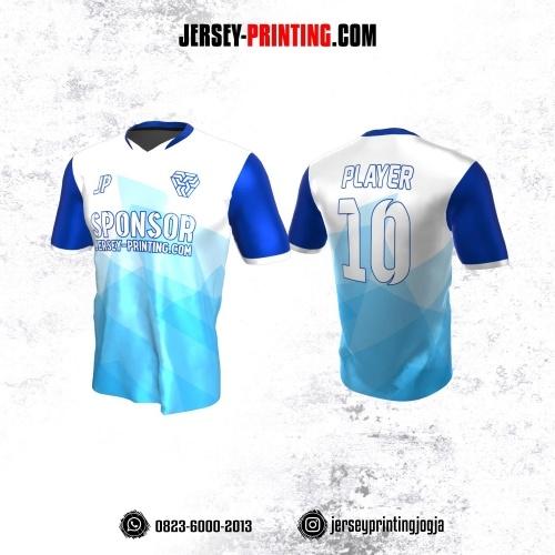 Jersey Atasan Badminton Volly Lari Futsal Biru Corak Putih
