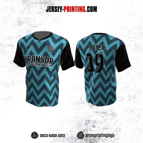 Jersey Atasan Badminton Volly Lari Futsal Biru Hitam Motif Zigzag