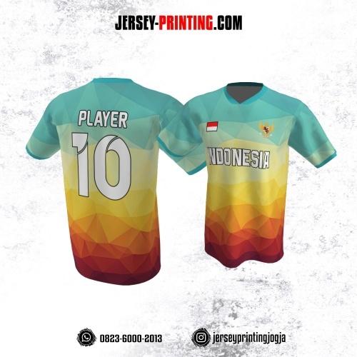 Jersey Atasan Badminton Volly Lari Futsal Biru Kuning Merah Motif Diamond