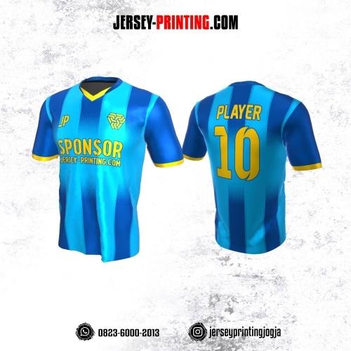 Jersey Atasan Badminton Volly Lari Futsal Biru Kuning Motif Stripe