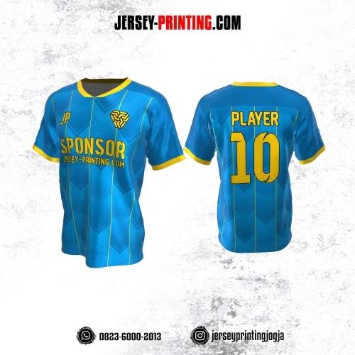 Jersey Atasan Badminton Volly Lari Futsal Biru Kuning Motif Zigzag