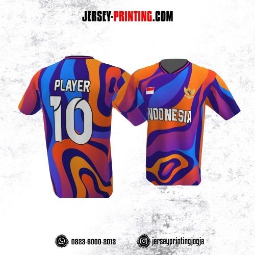 Jersey Atasan Badminton Volly Lari Futsal Biru Orange Motif Abstrak
