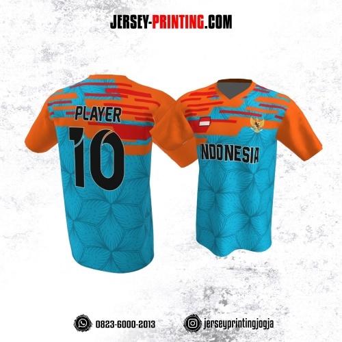 Jersey Atasan Badminton Volly Lari Futsal Biru Orange Motif Pola Bunga