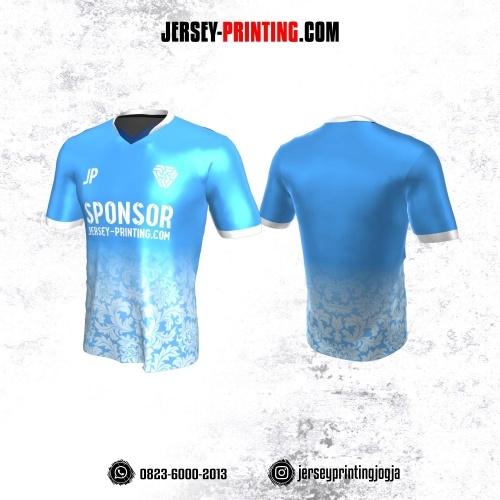Jersey Atasan Badminton Volly Lari Futsal Biru Putih Motif Batik
