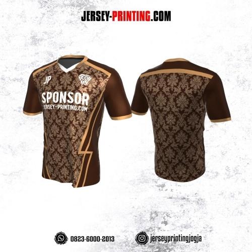 Jersey Atasan Badminton Volly Lari Futsal Coklat Krem Motif Batik