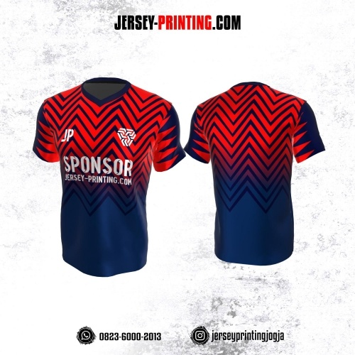 Jersey Atasan Badminton Volly Lari Futsal Dongker Merah Motif Zigzag