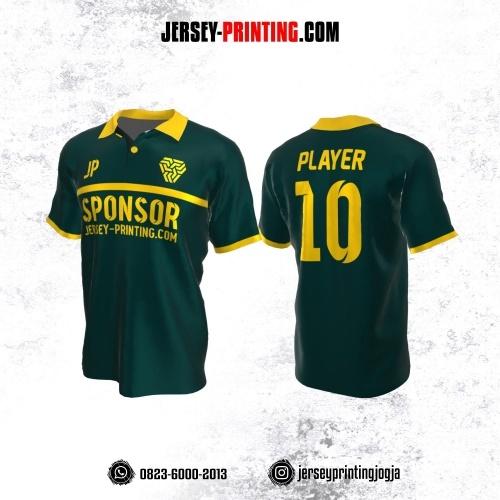 Jersey Atasan Badminton Volly Lari Futsal Kerah Polo Hijau Emerald Garis Kuning