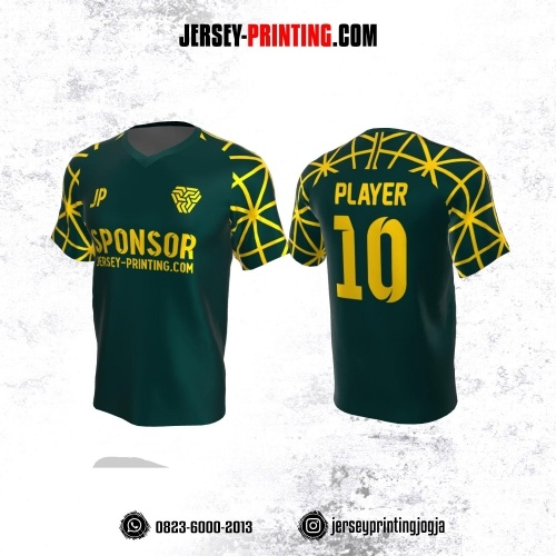 Jersey Atasan Badminton Volly Lari Futsal Hijau Emerald Motif Garis Kuning