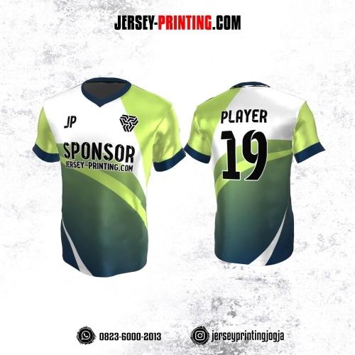 Jersey Atasan Badminton Volly Lari Futsal Hijau Gradasi Corak Putih Dongker