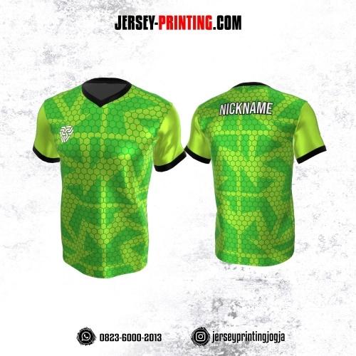Jersey Atasan Badminton Volly Lari Futsal Hijau Hitam Motif Honeycomb