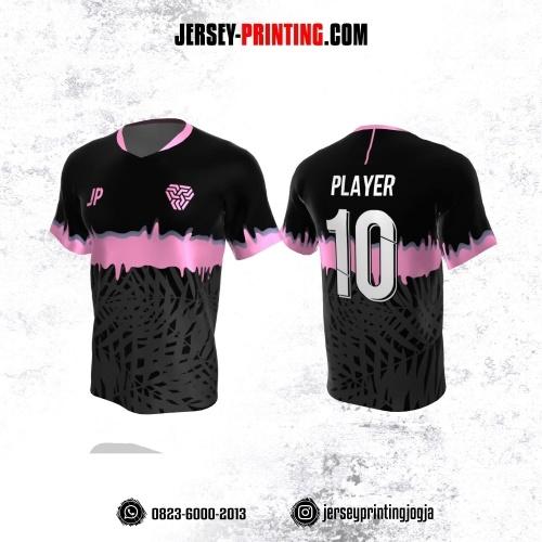 Jersey Atasan Badminton Volly Lari Futsal Hitam Abu-abu Pink Motif Daun