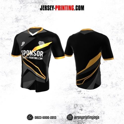 Jersey Atasan Badminton Volly Lari Futsal Hitam Corak Abu-abu Kuning
