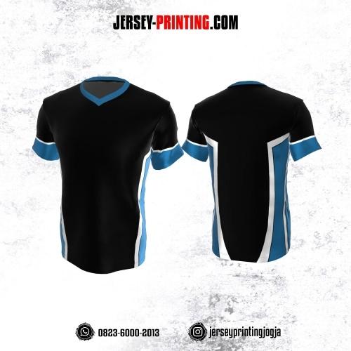 Jersey Atasan Badminton Volly Lari Futsal Hitam Corak Biru Putih