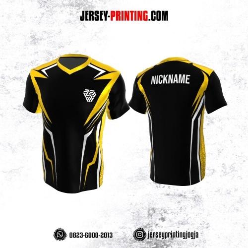Jersey Atasan Badminton Volly Lari Futsal Hitam Corak Kuning Putih
