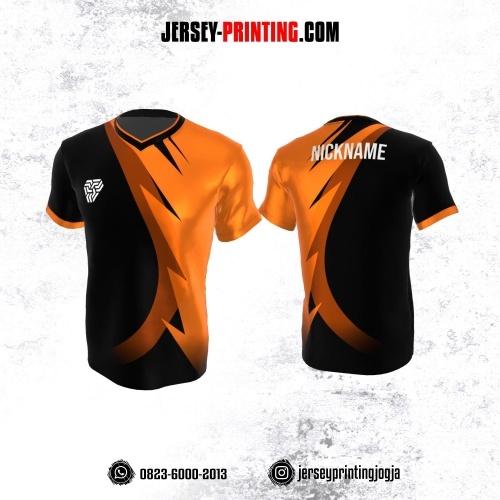 Jersey Atasan Badminton Volly Lari Futsal Hitam Corak Orange