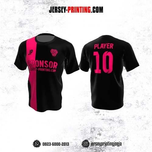 Jersey Atasan Badminton Volly Lari Futsal Hitam Corak Pink