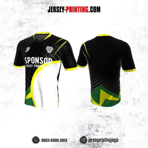 Jersey Atasan Badminton Volly Lari Futsal Hitam Corak Putih Hijau Kuning
