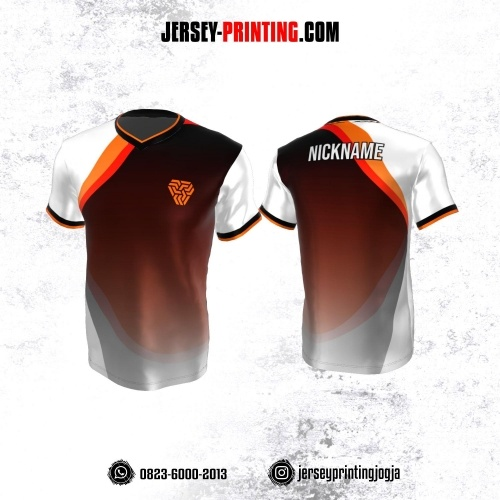Jersey Atasan Badminton Volly Lari Futsal Hitam Corak Putih Orange