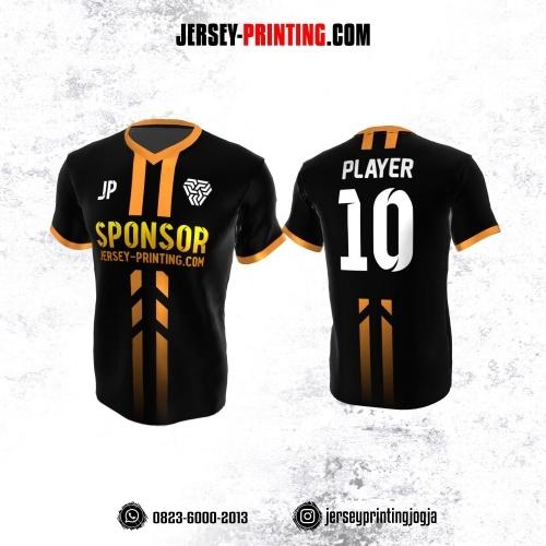 Jersey Atasan Badminton Volly Lari Futsal Hitam Garis Orange