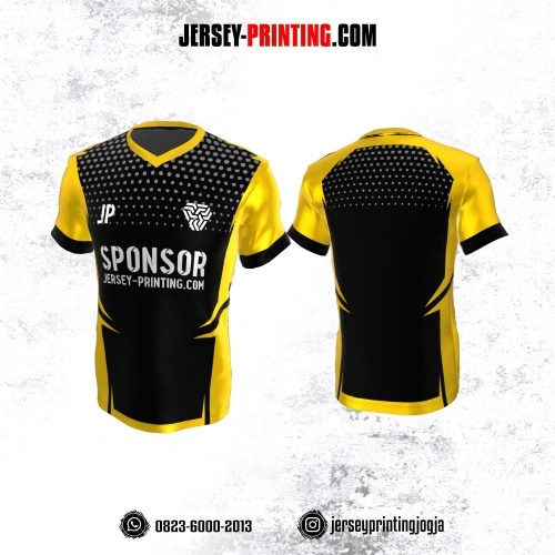 Jersey Atasan Badminton Volly Lari Futsal Hitam Kuning Motif Abstrak Abu-abu