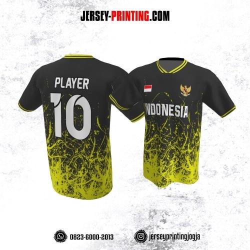 Jersey Atasan Badminton Volly Lari Futsal Hitam Kuning Motif Bercak