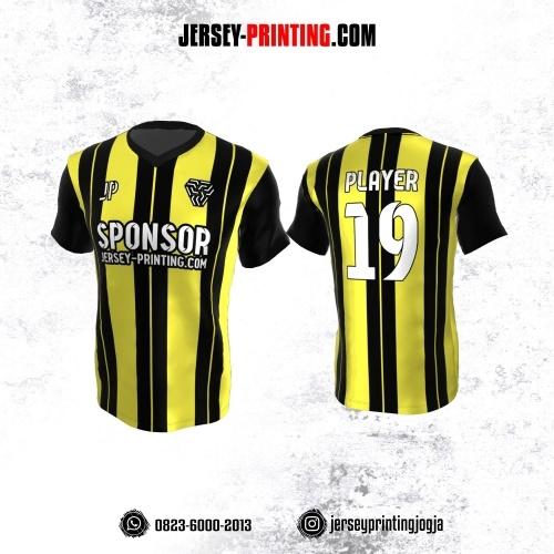 Jersey Atasan Badminton Volly Lari Futsal Hitam Kuning Motif Stripe