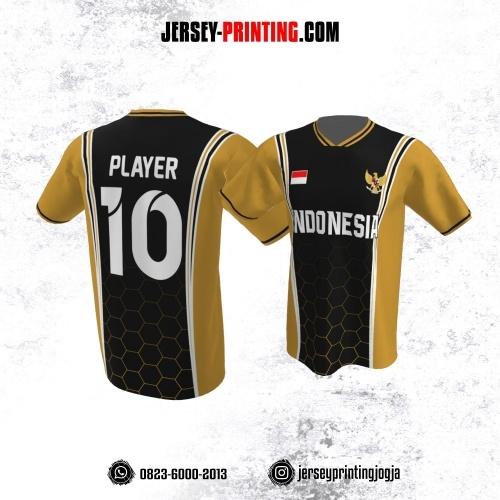 Jersey Atasan Badminton Volly Lari Futsal Hitam Kuning Putih Motif Honeycomb