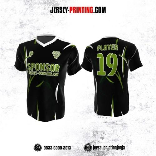 Jersey Atasan Badminton Volly Lari Futsal Hitam Motif Abstrak Hijau Putih