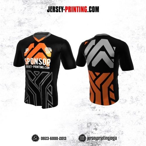 Jersey Atasan Badminton Volly Lari Futsal Hitam Motif Abstrak Orange Abu-abu
