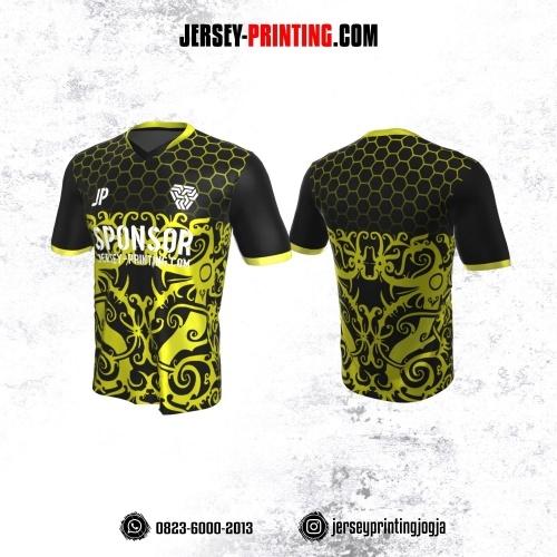 Jersey Atasan Badminton Volly Lari Futsal Hitam Motif Batik dan Honeycomb Kuning