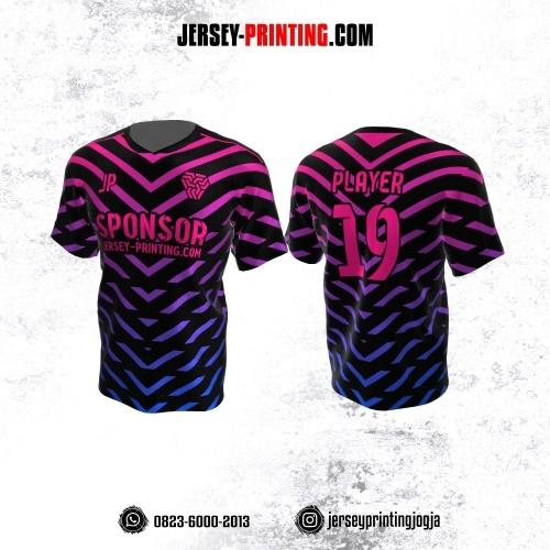 Jersey Atasan Badminton Volly Lari Futsal Hitam Motif Garis Pink Biru