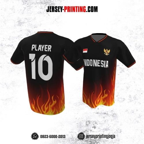 Jersey Atasan Badminton Volly Lari Futsal Hitam Motif Kobaran Api Orange